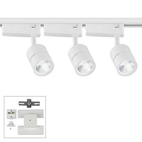 Linder 3-Light White LED Track Kit with Floating Canopy