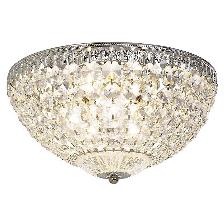 """Schonbek Silver 12"""" Wide Crystal Ceiling Light"""