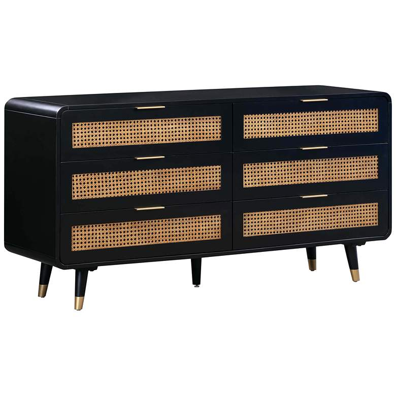 "Christine 62"" Wide Black Acacia Wood and Iron 6-Drawer Dresser"