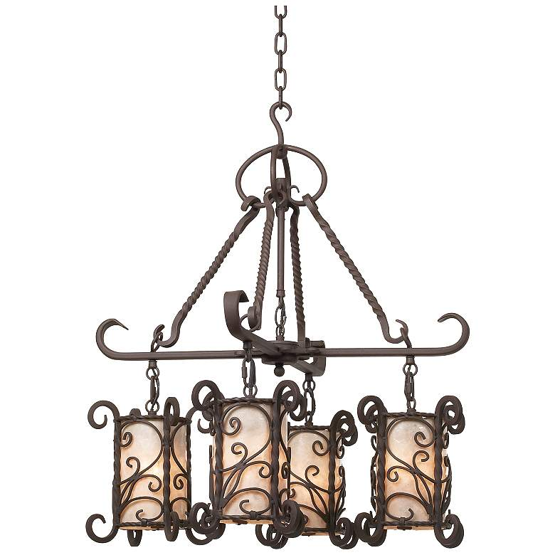 """Natural Mica Collection 25 1/2"""" Wide Four Light Chandelier"""