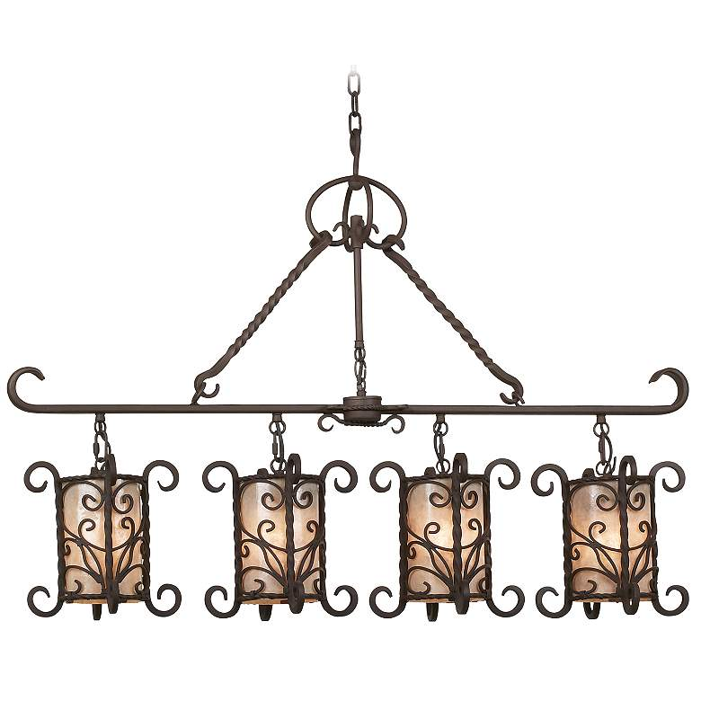 """Natural Mica Collection 42"""" Wide Linear Island Chandelier"""