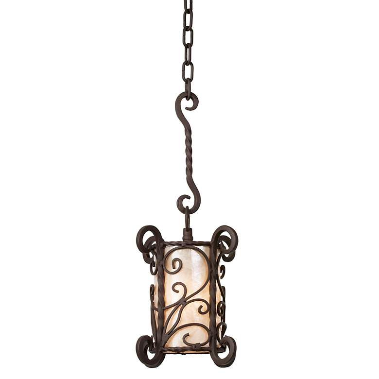 """Natural Mica Collection 7"""" Wide Mini Pendant Chandelier"""