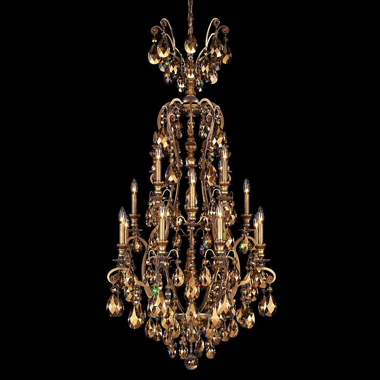 "Schonbek Renaissance 28""W Teak Crystal Chandelier in Bronze"