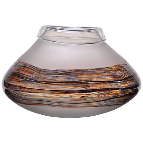 Viz Frill Clear Matte and Iridescent Art Glass Vase