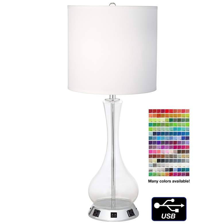 10A77 - Nickel and Clear Glass Table Lamp with USB ports