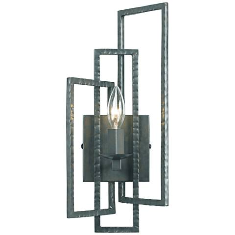 "Crystorama Capri 15 3/4""H Gray Hammered Steel Wall Sconce"