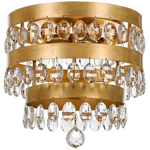 Crystorama perla 13 3 4 wide antique gold ceiling light