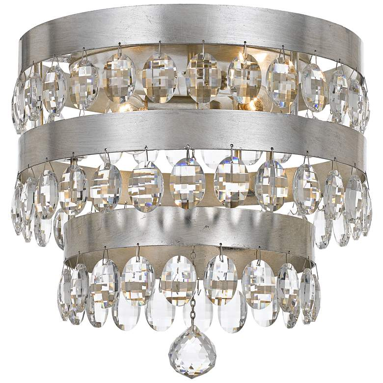 "Crystorama Perla 13 3/4""W Antique Silver Ceiling Light"