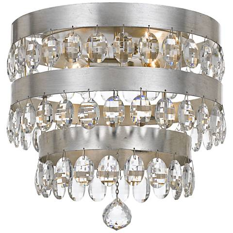 "Crystorama Perla 13 3/4""W Antique Silver Ceiling Light"