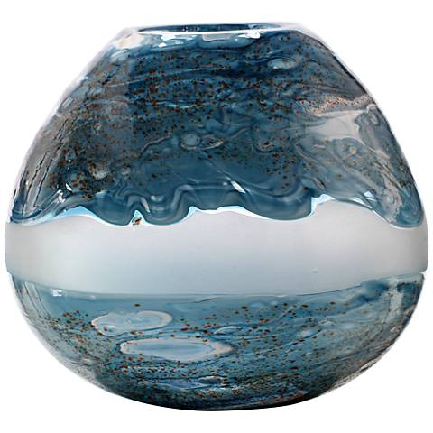 "Viz Aquarius Aqua and Clear 10"" Wide Art Glass Vase"