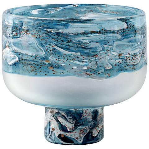 """Viz Aquarius Aqua and Clear 12"""" High Art Glass Vase"""