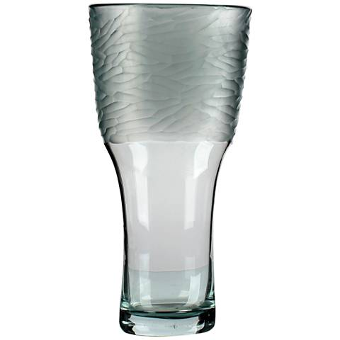 "Viz Jayden Gray 18"" High Art Glass Vase"