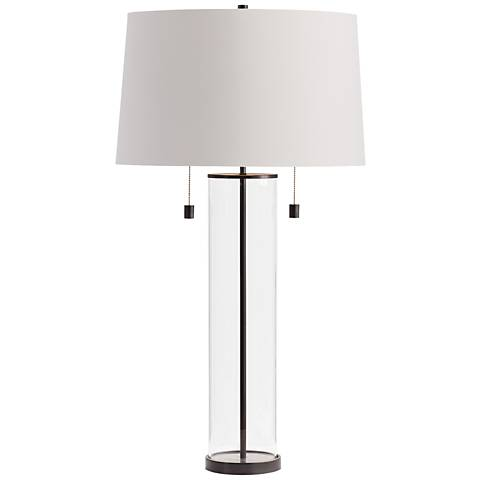 Savannah Dark Bronze and Clear Glass Column Table Lamp