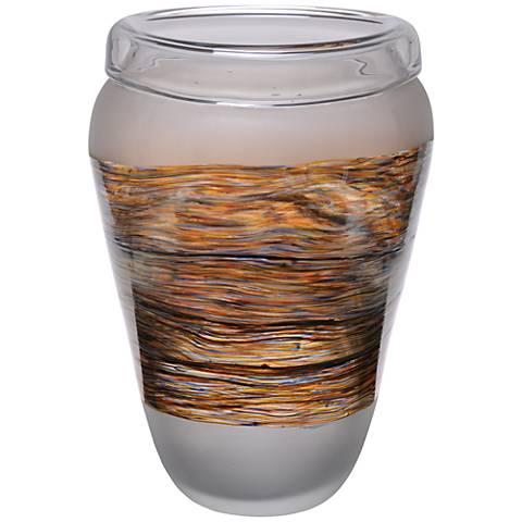 "Viz Sasha Clear Matte and Iridescent 15"" High Art Glass Vase"