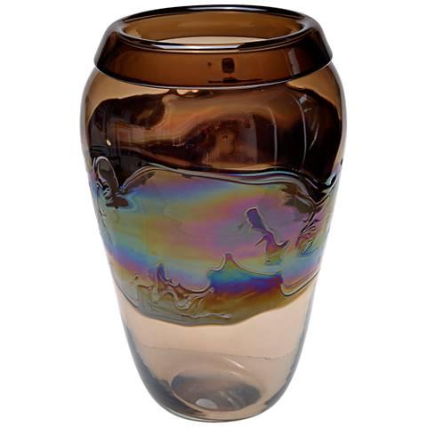 "Viz Nova Multi-Color Brown 16"" High Art Glass Vase"