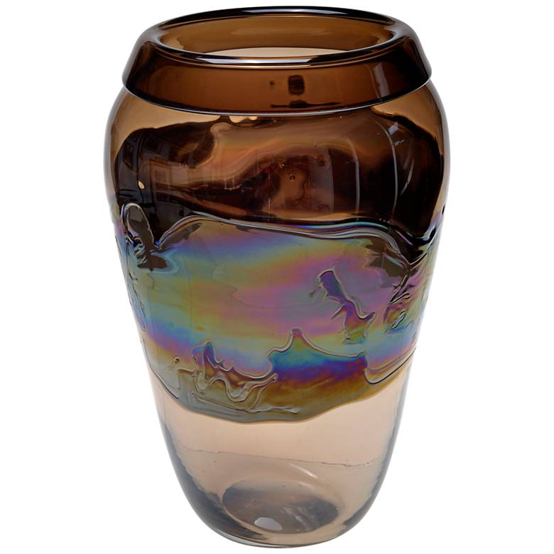 "Viz Nova Multi-Color Brown 16"" High Art Glass Vase"