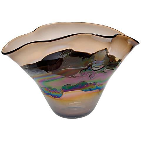 """Viz Nova Multi-Color Brown 19"""" Wide Art Glass Vase"""
