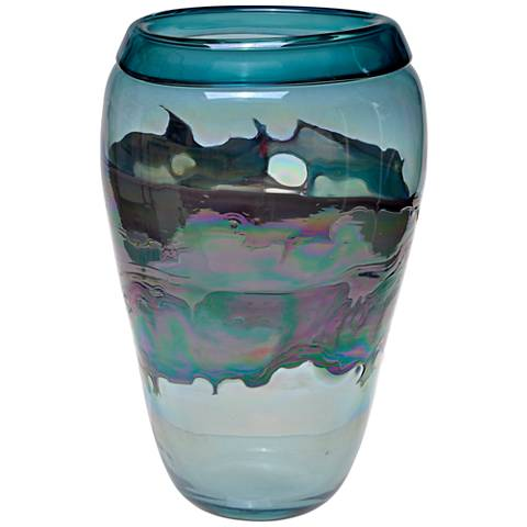 "Viz Ella Multi-Color Blue 16"" High Art Glass Vase"