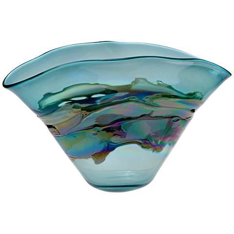 """Viz Ella Multi-Color Blue 19"""" Wide Art Glass Vase"""