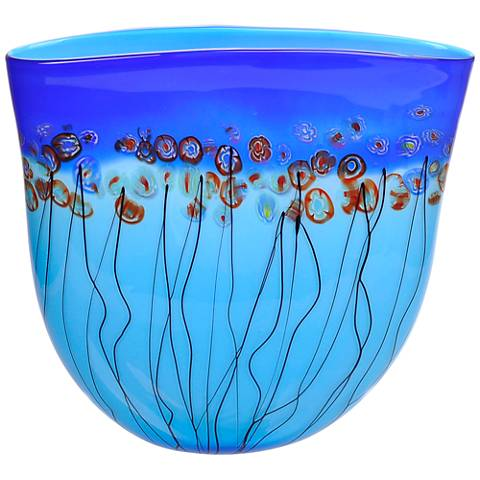 "Viz Florence Blue 15"" High Art Glass Vase"