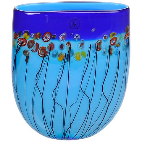"Viz Florence Blue 10"" High Art Glass Vase"