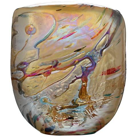 """Viz Michelle Multi-Color Amber 14"""" High Art Glass Vase"""