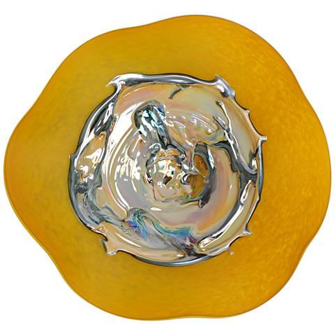"Viz Santana Yellow and Iridescent 12""H Art Glass Wall Art"