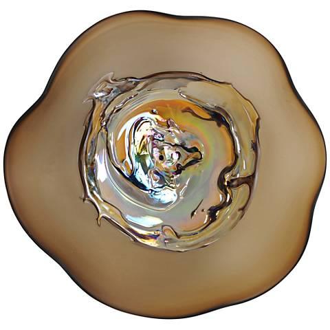 """Viz Santana Brown and Iridescent 12"""" High Art Glass Wall Art"""