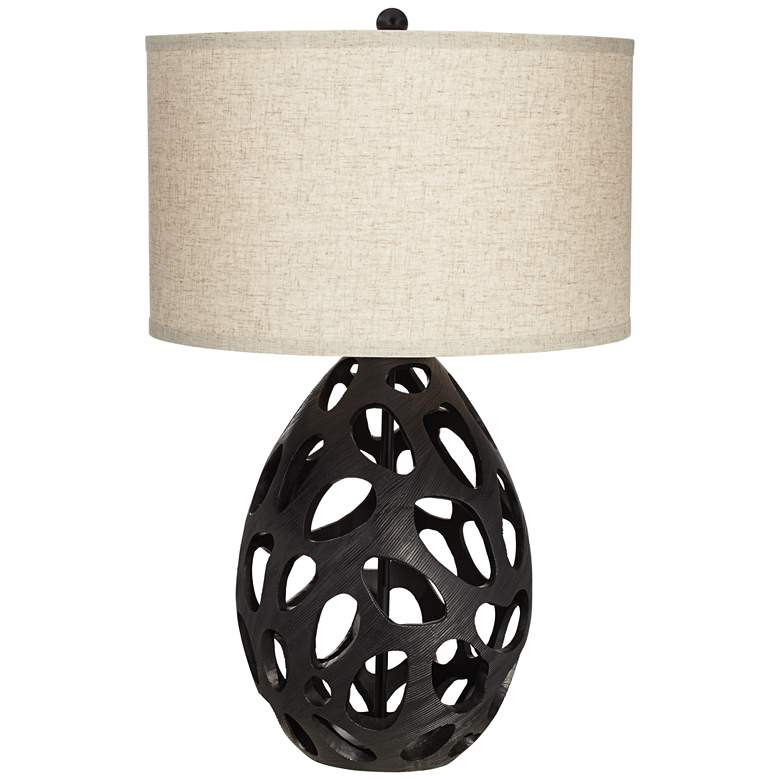 Luna Matte Black Openwork Table Lamp