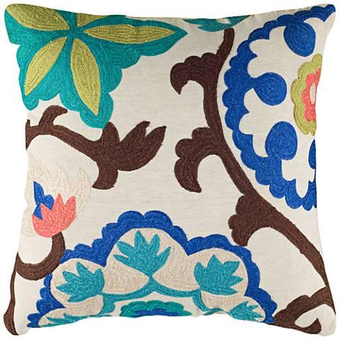 "Janelle Floral Multi-Color Blue 18"" Square Throw Pillow"