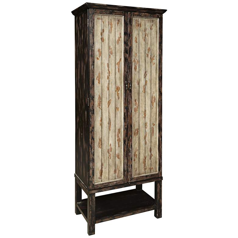"Gulfport 79"" High 2-Door Distressed Wood Accent Cabinet"