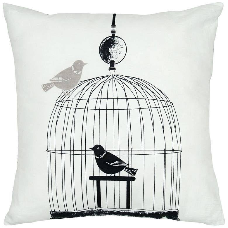 "Orinth Black and White Birdcage 18"" Square Throw"