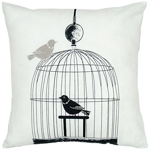 """Orinth Black and White Birdcage 18"""" Square Throw Pillow"""