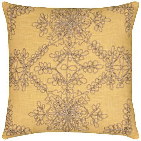 "Sarah Medallion Natural and Yellow 18"" Square Throw Pillow"