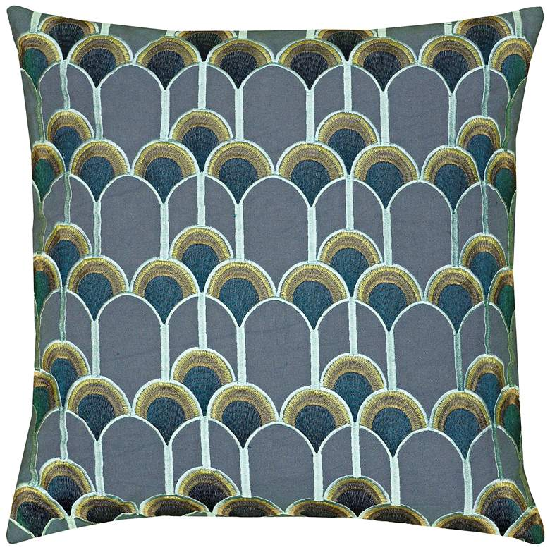 "Barbara Scallops Blue 20"" Square Throw Pillow"