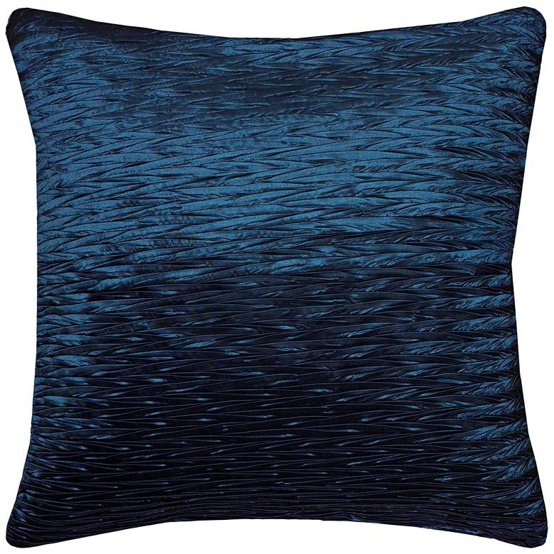 """Kelly Blue Solid Crinkle Poly Sheen 18"""" Square Throw Pillow"""
