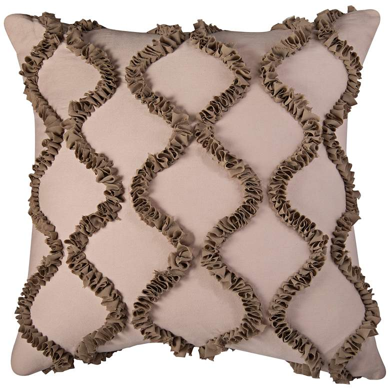 """Hourglass Ogee Ruffle Georgette Wave 20"""" Square Pillow"""