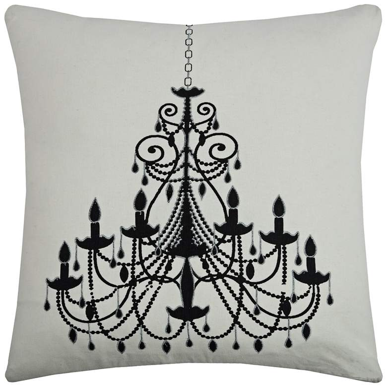 "Ritz Black Chandelier Printed 20"" Square Throw Pillow"