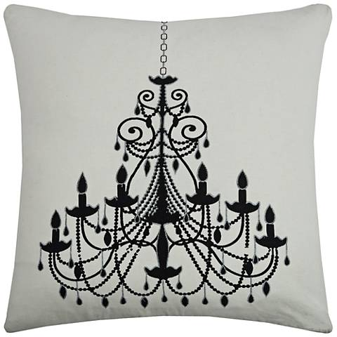 """Ritz Black Chandelier Printed 20"""" Square Throw Pillow"""