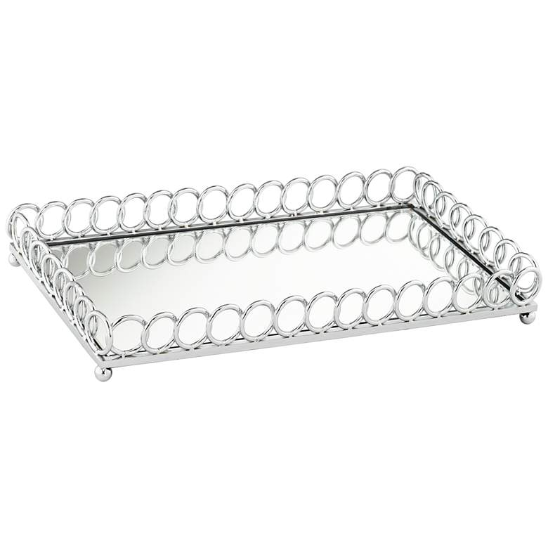 "Emma 18"" Mirrored Chrome Rectangular Serving Tray"