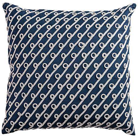 """Riley Navy and White Diagonal Swoops 20""""W Throw Pillow"""