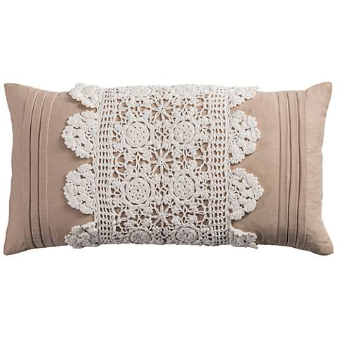 """Florence Ivory Cottage Lace Crochet 21"""" x 11"""" Throw Pillow"""