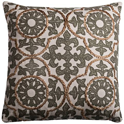 "Orleans Fleur-de-Lis Medallion Gray 18"" Square Throw Pillow"