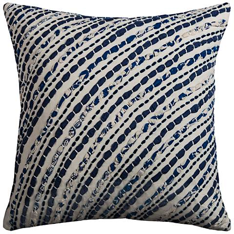 """Waverly Navy Diagonal Stripes 18"""" Square Throw Pillow"""