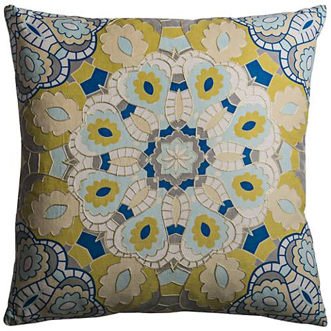 """Mosaic Medallion Multi-Color Yellow 20"""" Square Throw Pillow"""