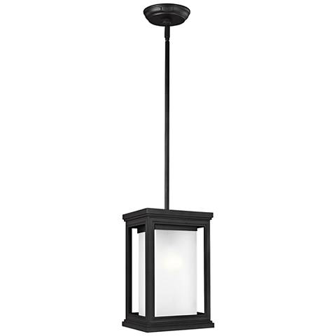 """Feiss Roscoe 12 1/4""""H Textured Black Outdoor Hanging Light"""