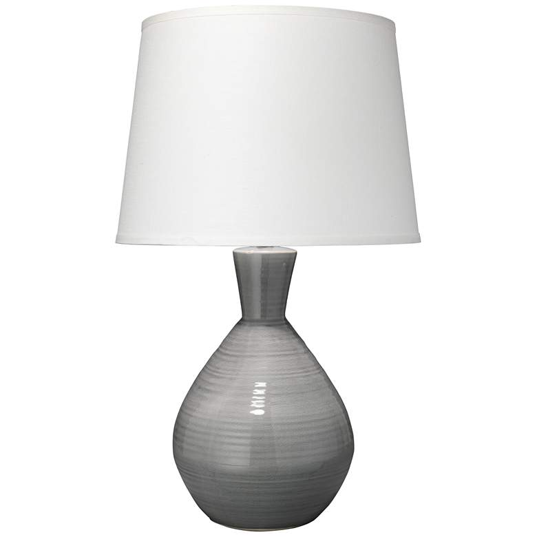 Jamie Young Ash Neutral Gray Ceramic Vase Table Lamp