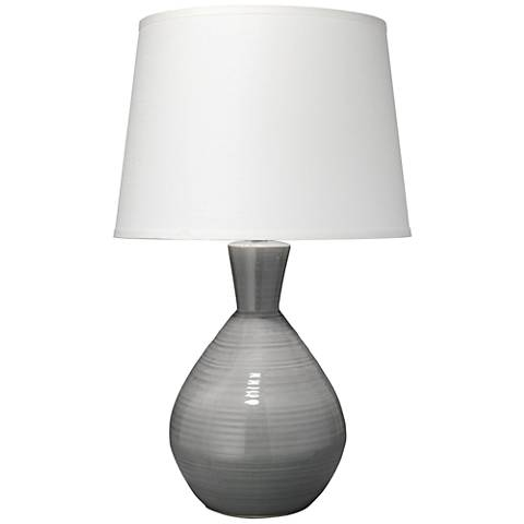Jamie Young Ash Neutral Gray Ceramic Vase Table Lamp