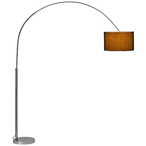 Soprana Chrome Arc Floor Lamp with Black Shade