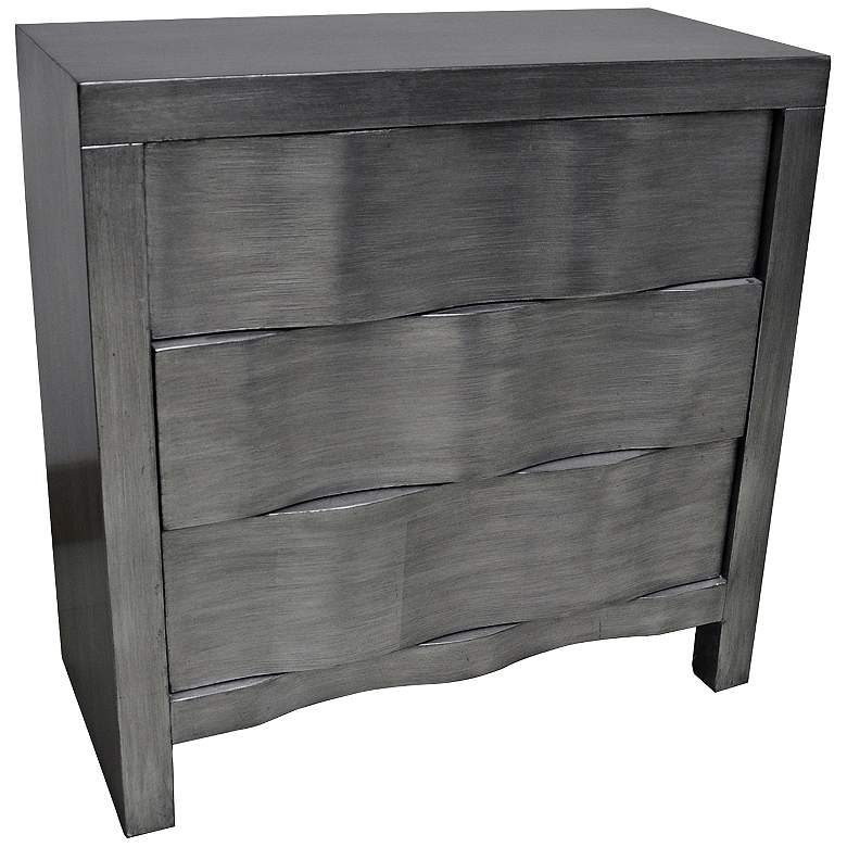 Baxter 30 Wide Brushed Silver Leaf 3 Drawer Accent Table 10f68